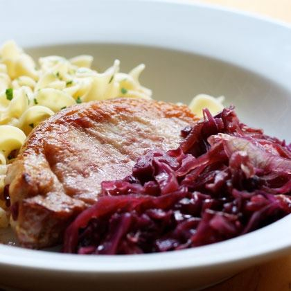 Pork Chops with Maple-Cider Cabbage