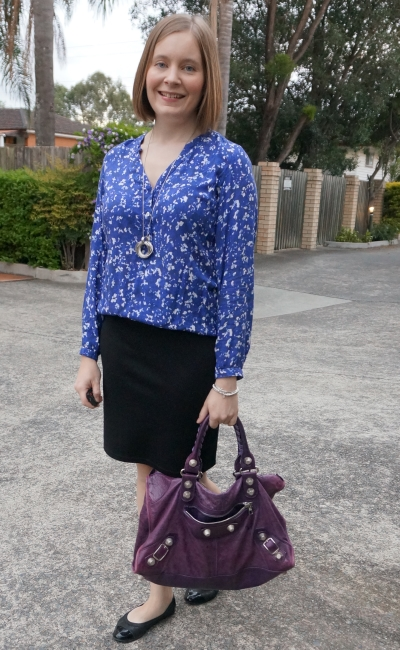 navy printed blouse with black classic pencil skirt autumn office style | away from blue