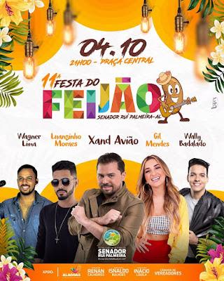 11ª Festa do Feijão em Senador Rui Palmeira/AL  terá concurso da Rainha do Feijão e quatro atrações musicais