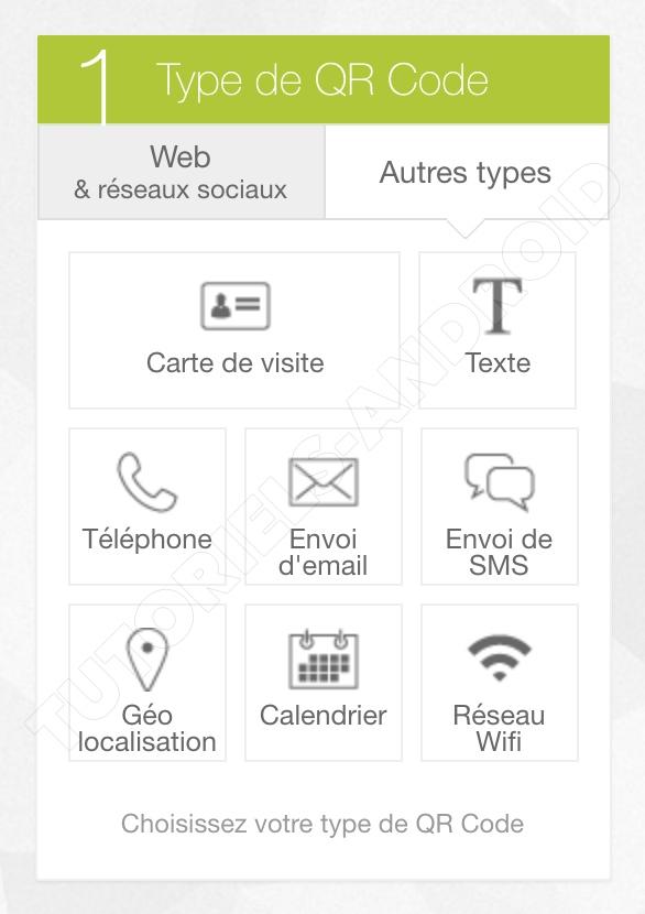 UNITAG : Choisir type QR Code