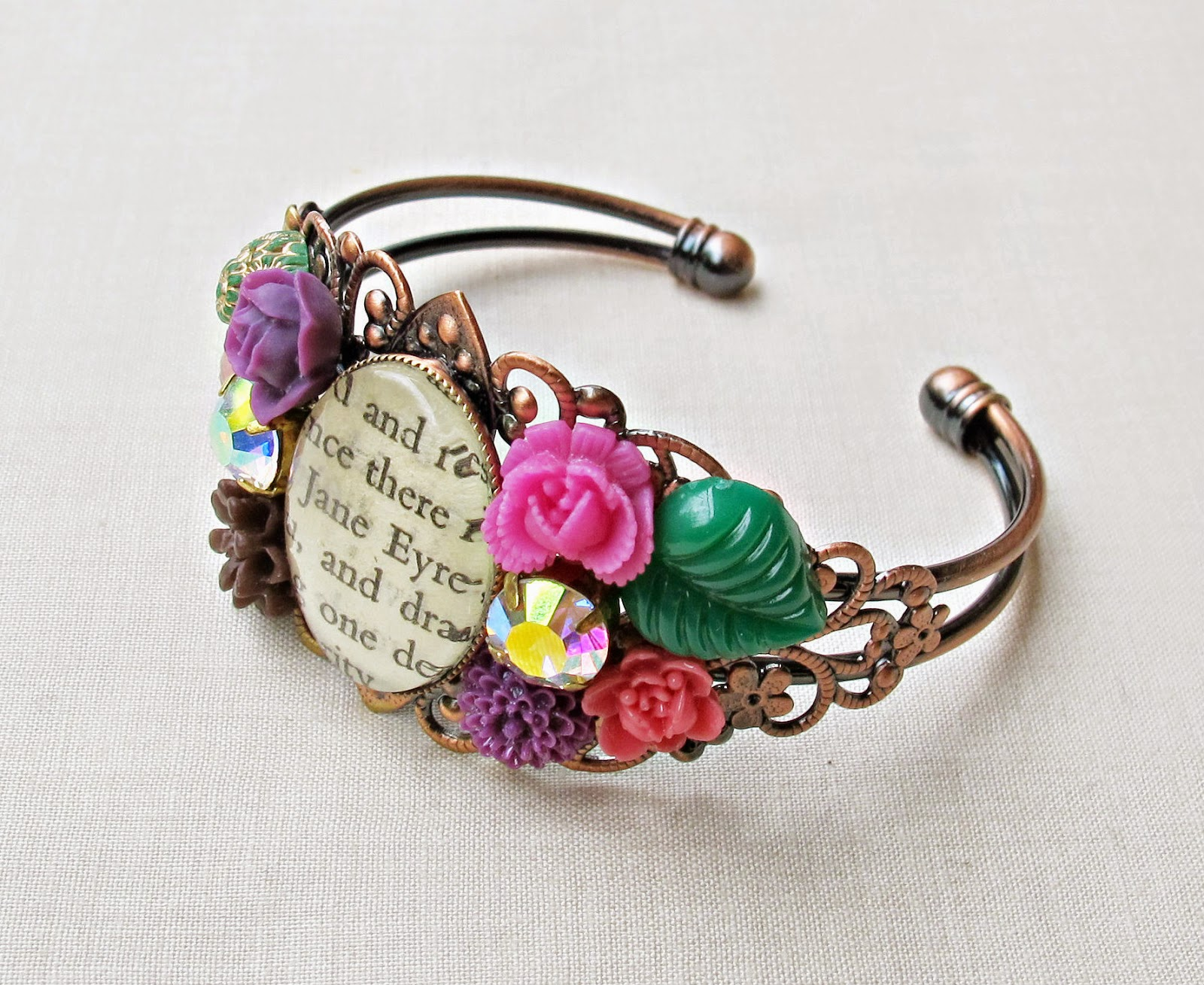 image jane eyre cuff bangle two cheeky monkeys vintage rhinestones floral cabochons pink purple green copper