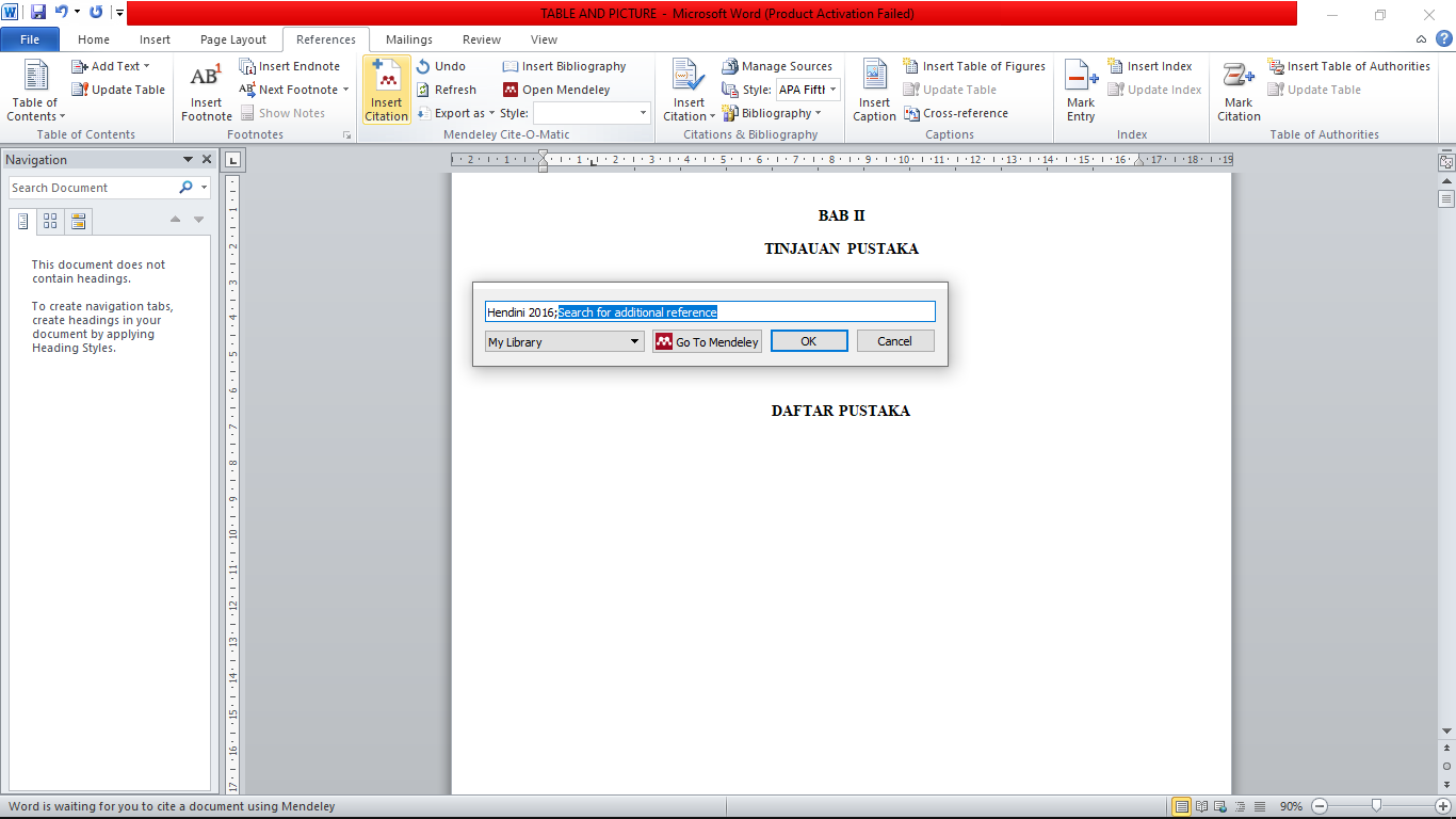 Cara insert citation di Mendeley dan Microsoft Word 2010