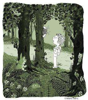 couronne du rampant, forêt, enfant, encre, numérique
