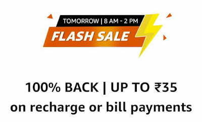 Amazon flash sale-get Rs 35 cashback on rs 35 mobile recharge