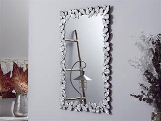 espejo alta marco decorado con cristales