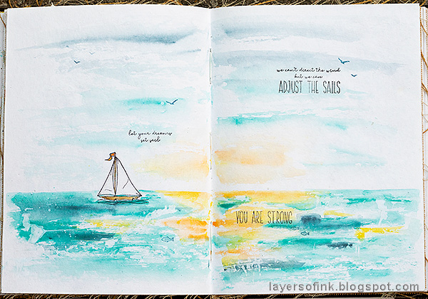 Layers of ink - Ocean Art Journal Page by Anna-Karin Evaldsson.