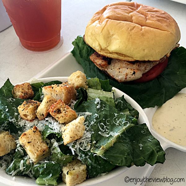 Red Snapper Sandwich (fresh fish of the day) with a Caesar salad from The Bay in Santa Rosa Beach!