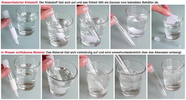 Etiketten vollständig in Wasser auflösbar