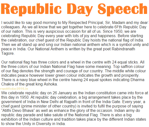 Short Republic Day Speech with Images