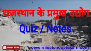 Rajasthan ke udhyog in hindi, rajasthan ke udhyog notes in hindi