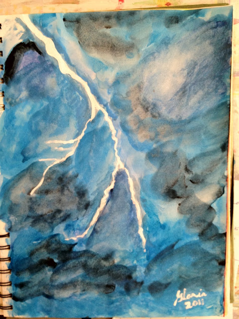 """Lightning"" sketch drawn/painted by Gloria Poole of Missouri"