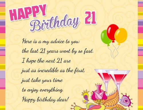 Birthday Wishes for 21 Year Old