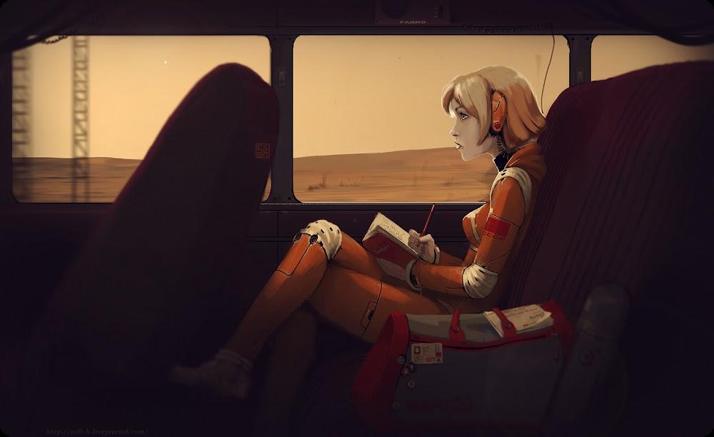 CCCP-2061 प्रतियोगिता के लिए यूजीन लिज़िन द्वारा मंगल पर रेलवे से यात्रा करती लड़की