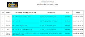 Kalvi TV TRANSMISSION CUE SHEET AUGUST 2 to AUGUST 6