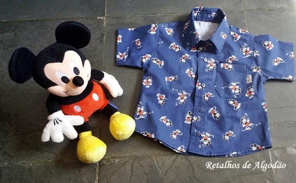 camisa infantil mickey com bermuda