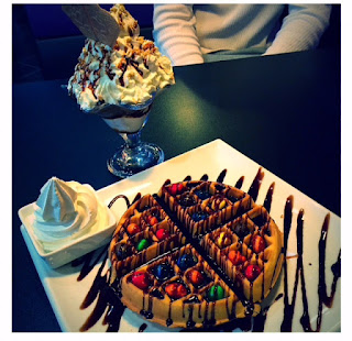 Peanut M&M Waffle and Choc Fudge Hot-N-Cold Volcano, waffle, sundae, ice cream, treat, sugar, Creams, Creams Cafe