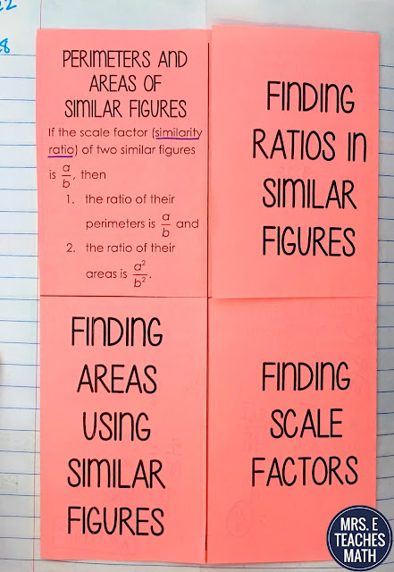 perimeter and area of similar figures foldable for geometry interactive notebooks