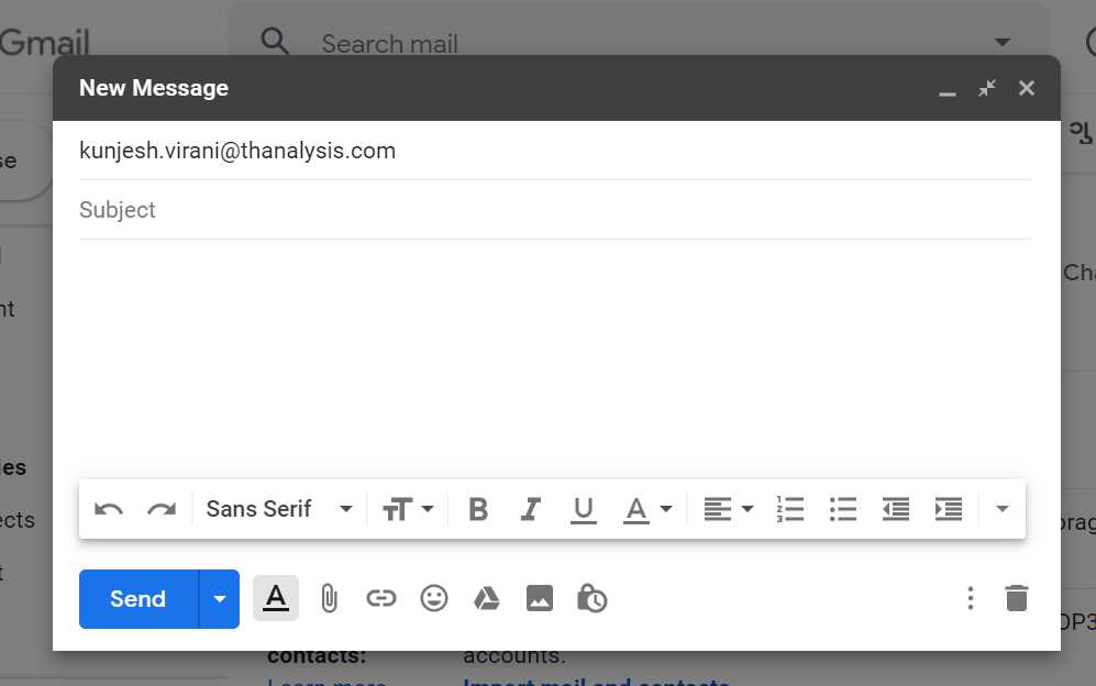 Enter email address in the email input field of Gmail - Thanalysis