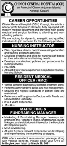 Medical Jobs at Chiniot General Hospital 2021