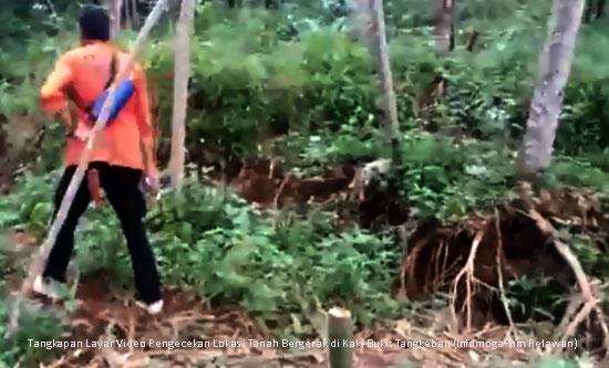 Terjadi Pergerakan Tanah di Kaki Bukit Tangkeban, Tim Relawan Bergerak Cepat Lakukan Pengecekan