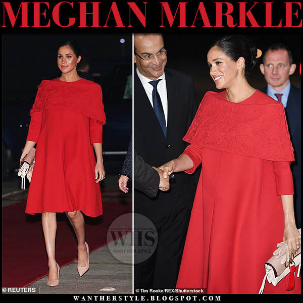68c7475b9f6 Meghan Markle wears voluminous red Valentino mini dress with pink Dior  pumps and Valentino pink logo