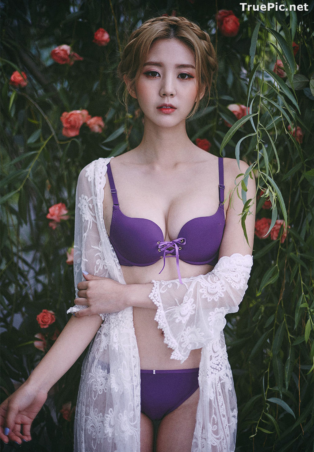 Image Lee Chae Eun - Korean Fashion Model - Purple Lingerie Set - TruePic.net - Picture-7