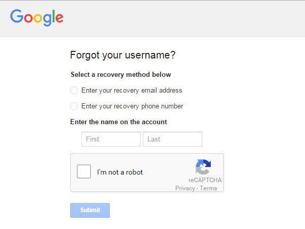 How can I recover the Google account without password or username