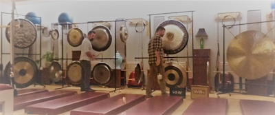 Gong Masters Jim and Nick Pavoldi Warming up Before a Gong Bath in Saratoga Sorings NY
