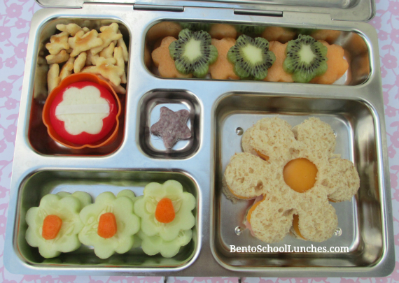 Flower bento school lunch. Spring. planetbox rover