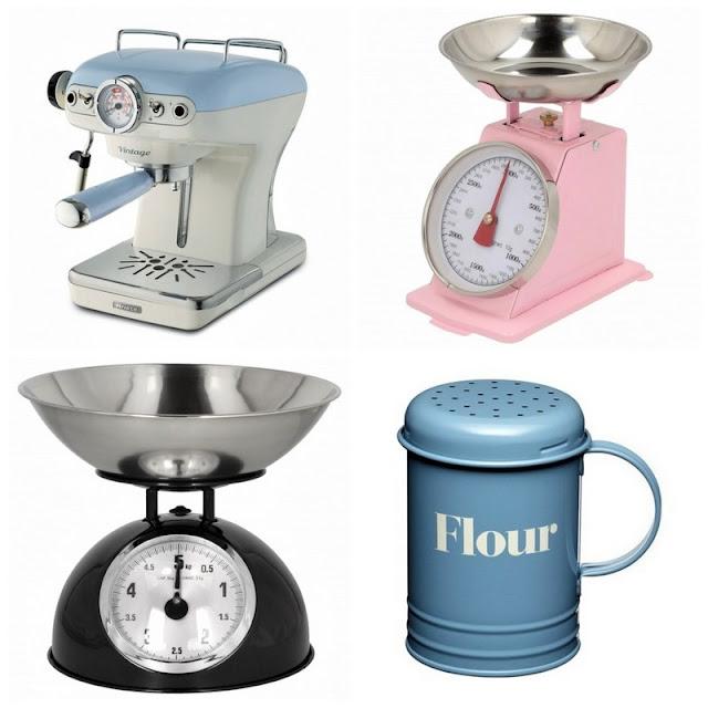 kuchnia w stylu retro, waga kuchenna retro, waga kuchenna vintage, waga kuchenna różowa, waga kuchenna czarna