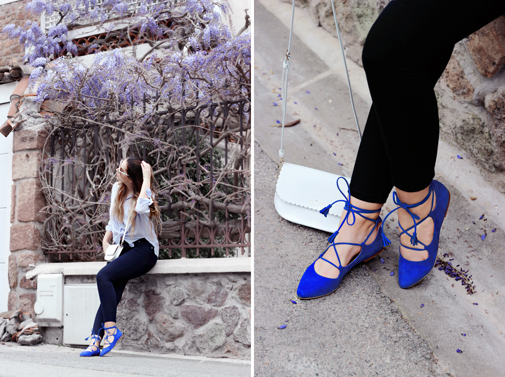 aimerose fashion blog blue lace up ballet flats outfit