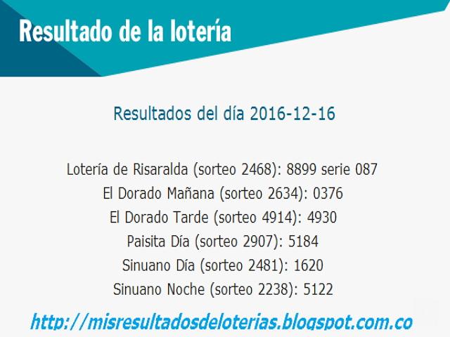 resultados de las loterias de colombia anoche -Diciembre-16-2016