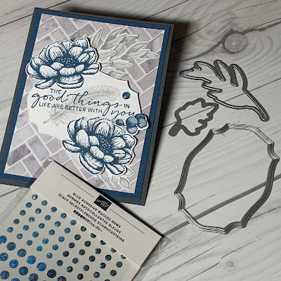 Dies and Gems used to accent this floral handmade greeting card