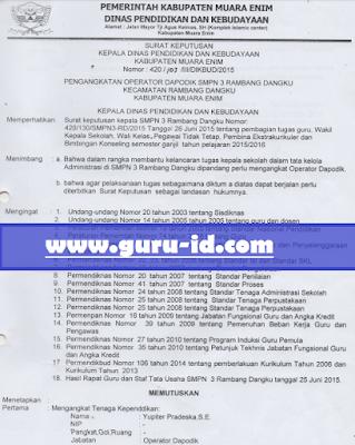 gambar contoh format SK kepala Dinas Pendidikan