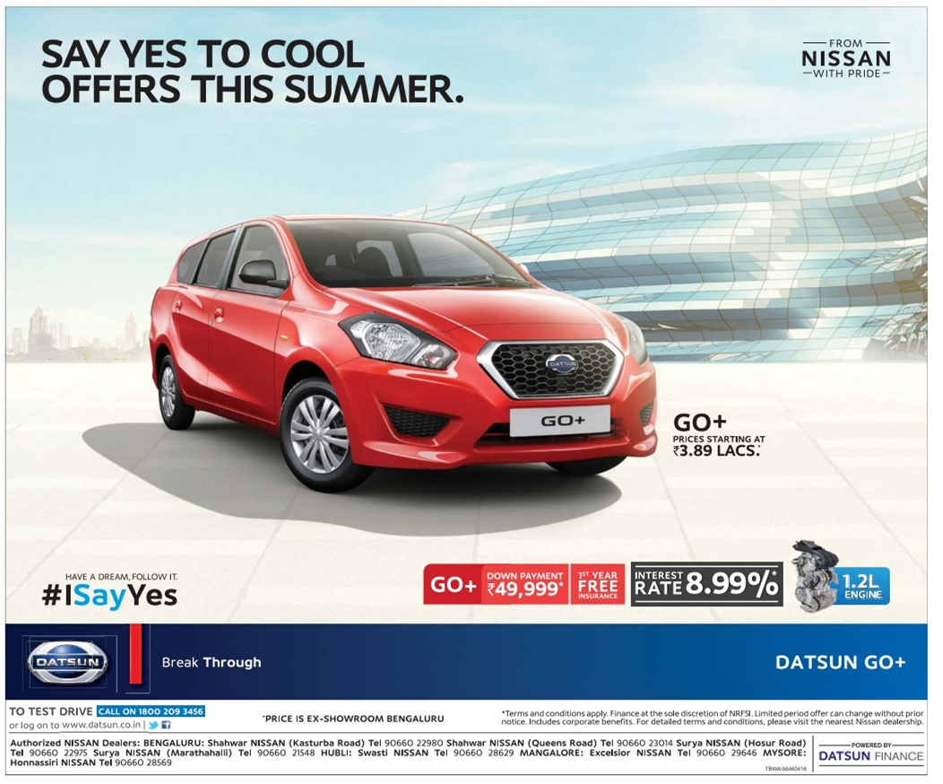 Datsun Go + with great offers | April 2016 discount offers