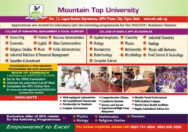 Mountain Top University Post-UTME / DE Screening Form 2020/2021