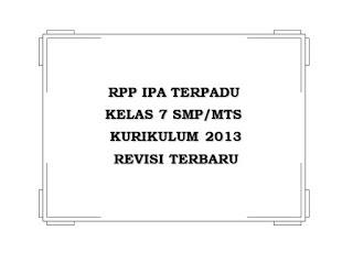 RPP IPA Kelas 7 K13 Revisi Terbaru