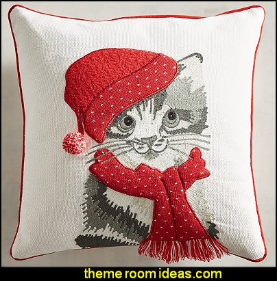 Gray Holiday Kitty Pillow  pet gift ideas - Christmas decorating ideas - Christmas decor - Christmas decorations - Christmas kitchen decor - santa belly pillows - Santa Suit Duvet covers - Christmas bedding - Christmas pillows - Christmas  bedroom decor  - winter decorating ideas - winter wonderland decorating - Christmas Stockings Holiday decor Santa Claus - decorating for Christmas - 3d Christmas cards - xmas tree decor