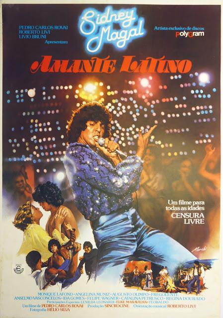 Cartaz para o Filme Amante Latino, com Sidnei Magal. Obra de Gilberto Marchi.