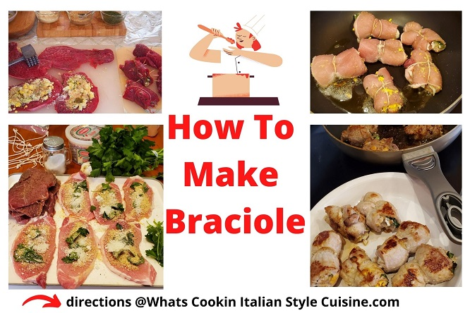 collage on how to make braciole meat rolls