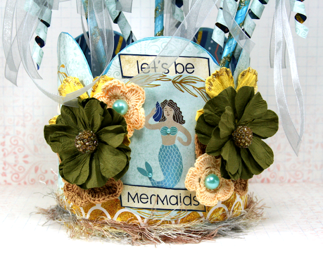 Mermaid Party Crown and Wands by Ginny Nemchak using BoBunny Down By The Sea Collection and Pentart Supplies