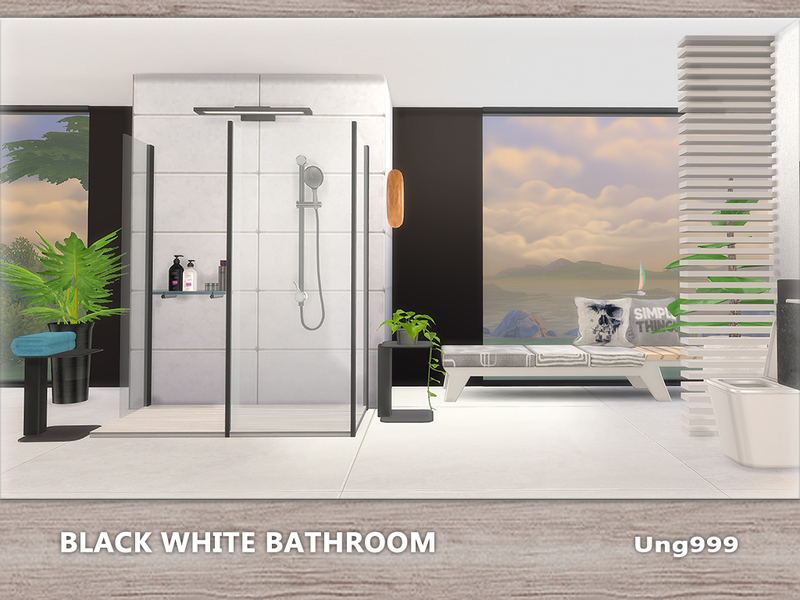 Sims 4 CC's - The Best: Black White Bathroom by ung999