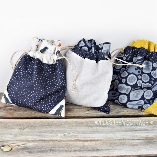 three diy drawstring bags