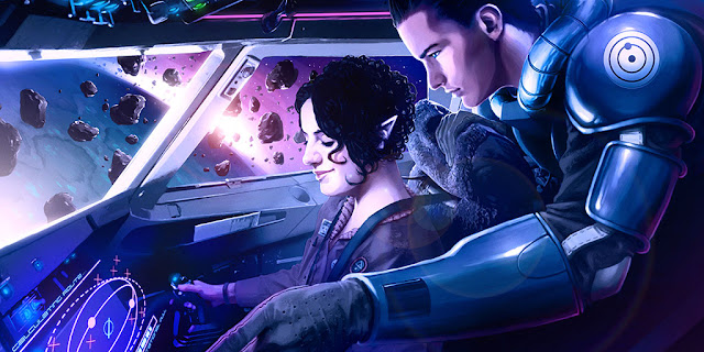 Two people inside a spaceship flying through an asteroid belt