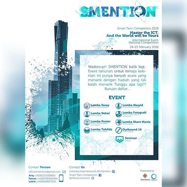 Event SMENTION 2018 Peserta Untuk SMA Sederajat s/d Umum