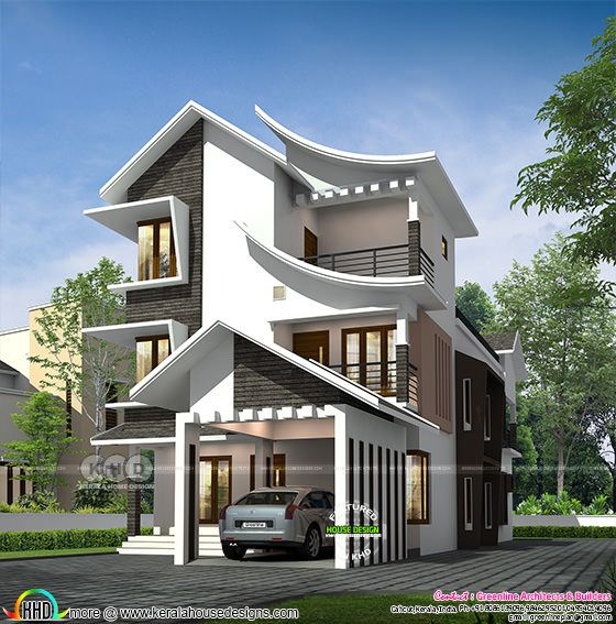 Curvy roof 4 BHK Kerala home design