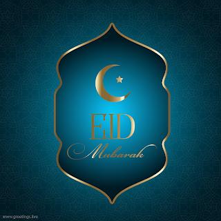 Islamic Ramadan festival celebrations EID mubarak beautiful elegant greetings in English with a crescent moon image