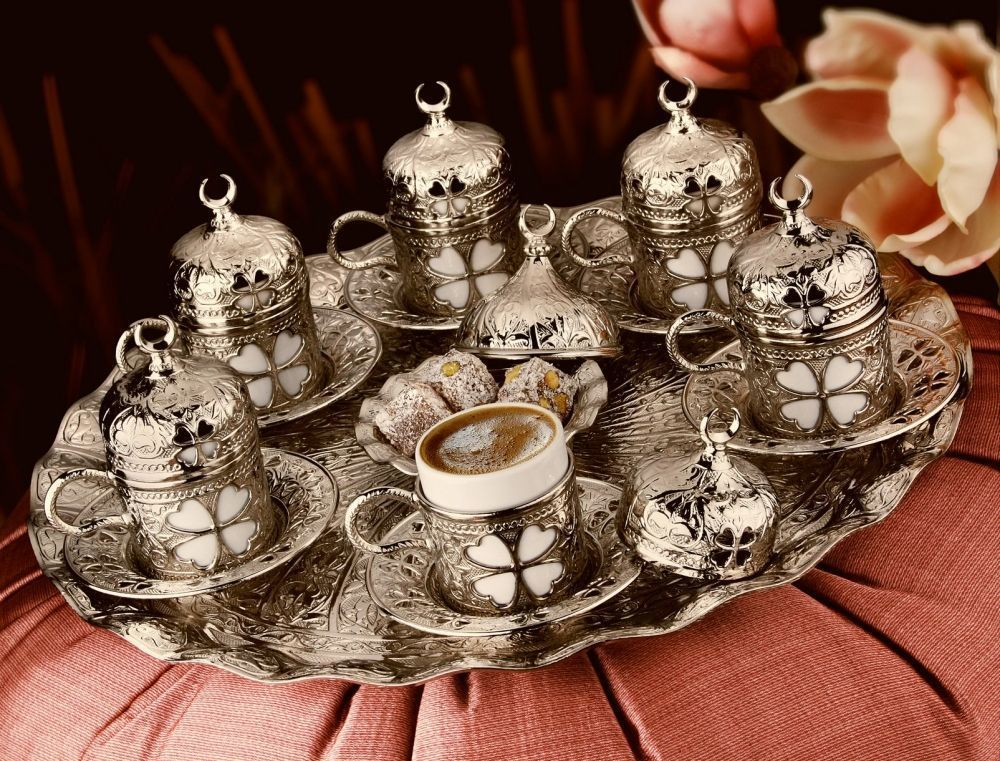 Silver Plated Turkish Coffee Set For Six Person