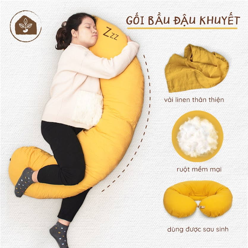 [A159] Gối đa năng Đậu Khuyết Mẹ Bầu ngủ ngon, giảm đau nhức cơ thể