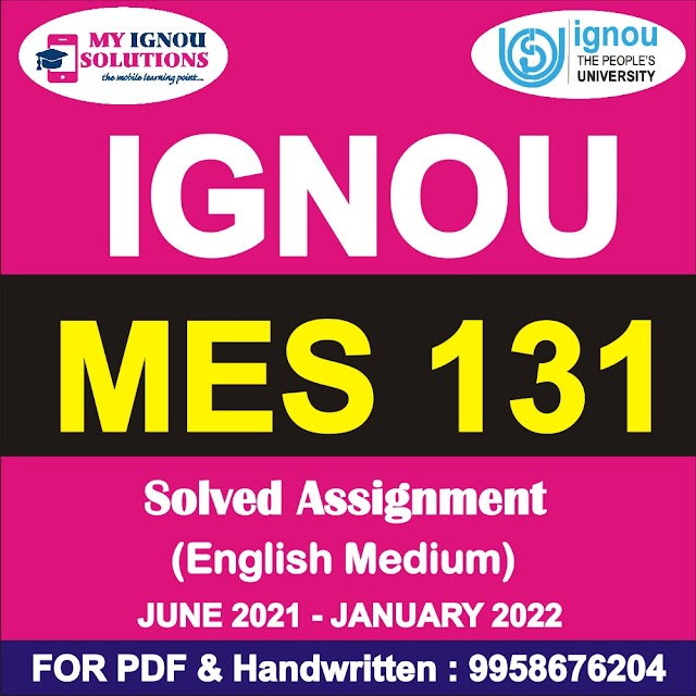 MES 131 Solved Assignment 2021-22
